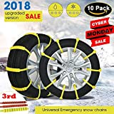 Diagtree 【Updated Version】 Snow Chains 3rd Anti Skid Tire Chains Adjustable Emergency Traction Aid for Vehicle Car Vans SUV 10pcs Anti-Slip Nylon tire Snow Chains