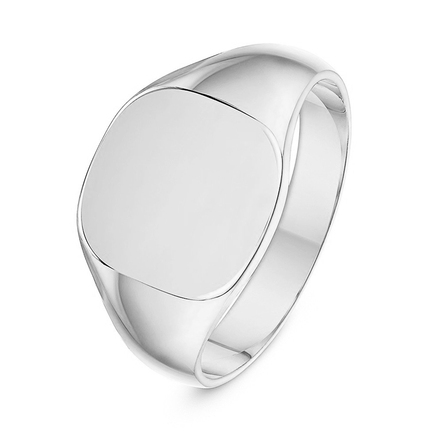 Unisex Sterling Silver Cushion Shape Heavy Weight Polished Signet Ring 12x12mm (6) by LANDA JEWEL (Image #1)