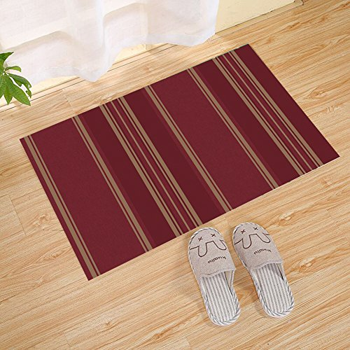 JANNINSE Custom Crimson And Yellow Vertical Stripe Decorative Door Mat Welcome Floor Mat Insulation Rug Indoor Bath Mat Rug Rubber Mat Washable (23.6