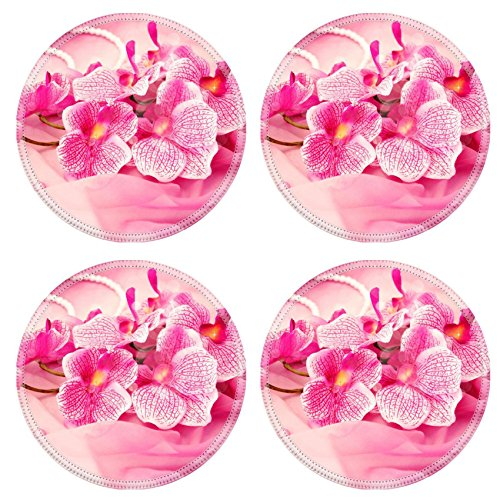 Rubber Necklace Round (MSD Round Coasters Non-Slip Natural Rubber Desk Coasters design 27006752 Pink orchids necklace beads on a veil)