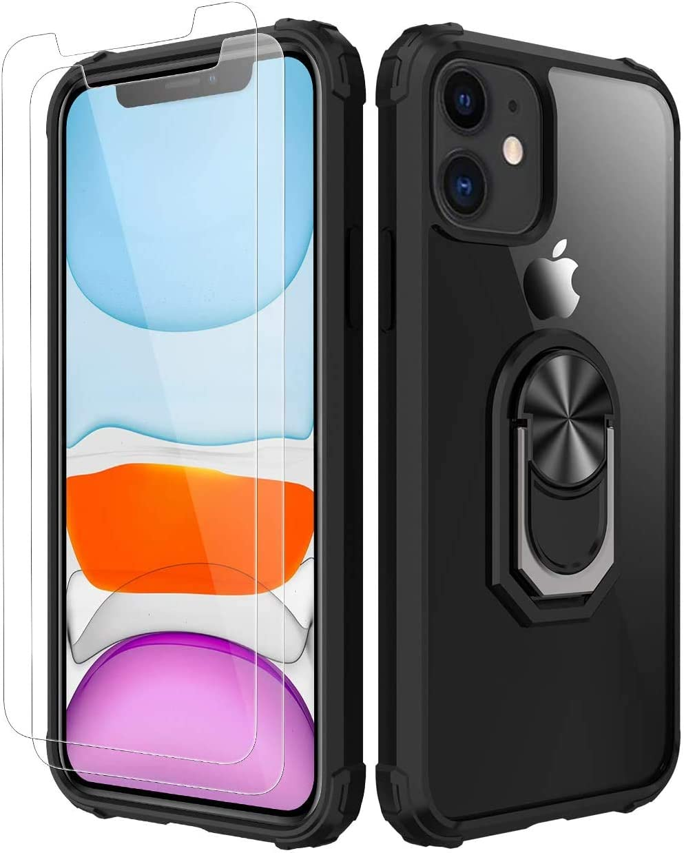 iPhone 11 Case,[ Military Grade ] with [ Glass Screen Protector] 15ft. Drop Tested Protective Case | Kickstand | Compatible with Apple iPhone 11 Case 6.1 Inch -Back