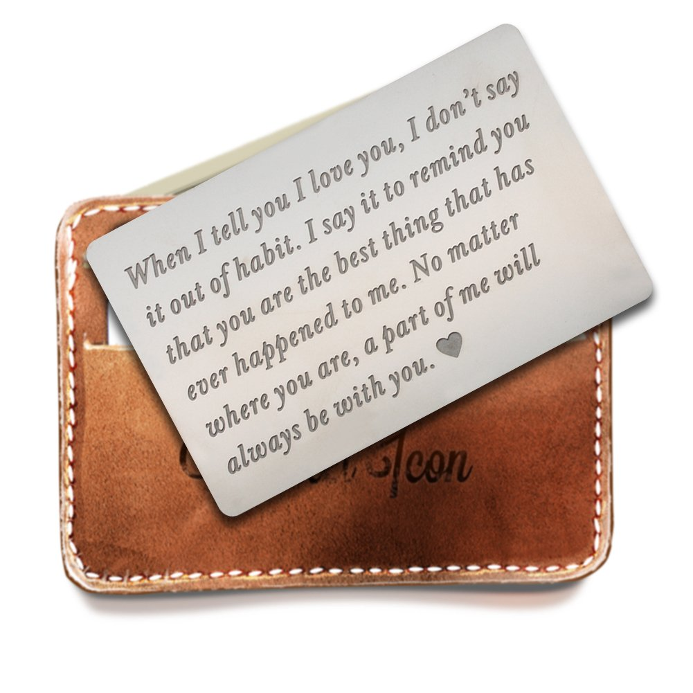 Engraved wallet insert,Stainless steel Wallet Card Insert,Engraved love message,Valentine's Day, Groom's Gift For Him,Boyfriend Gift by Rainmon (Image #1)
