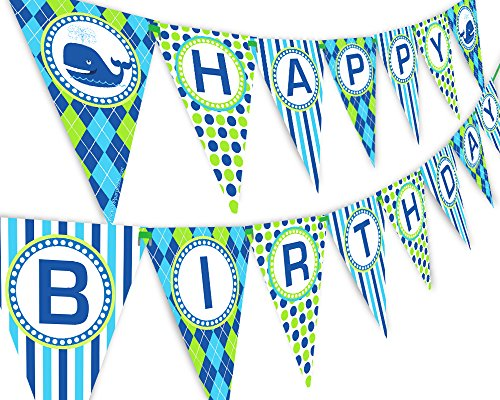 Whale Party Happy Birthday Banner Pennant - Preppy Whale Decorations ()
