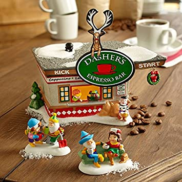 Department 56 North Pole Village Dashers Kick Start Espresso B Lit House 5.71 inch