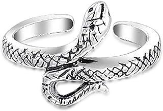 Serpent Serpent Midi Bypass Anneau d'orteil en Argent Sterling oxydé réglable 925 Bling Jewelry PMR-R10996