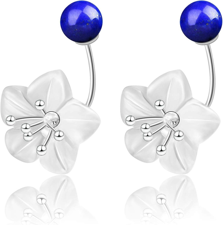 ♥ Regalo para Navidad♥ JIANGYUYAN S925 - Pendientes de plata de ley con flor fresca, pendientes creativos de cristal natural, joyas únicas para mujeres
