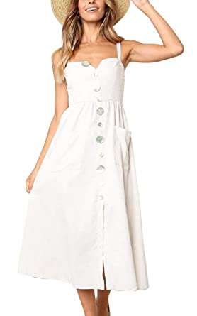 8ce88e1aa07 ECOWISH Womens Dresses-Summer Strap Button Down Solid Color Swing Midi Dress  with Pockets Beige