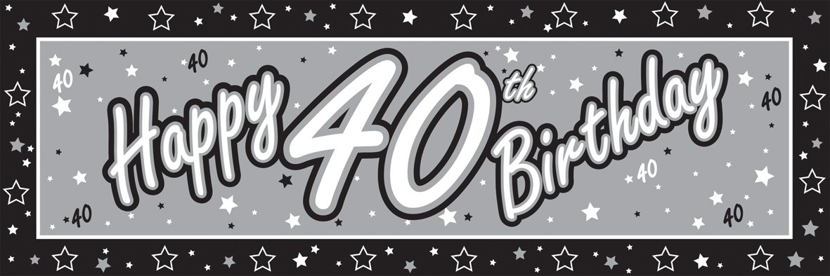 Favorite Happy 40th Birthday Giant Silver & Black Party Banner: Amazon.co  YQ22