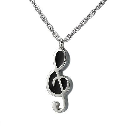 Cremation Jewelry Music Note Urn Pendant Memorial Ash Keepsake Stainless Steel