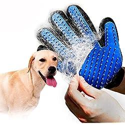 QBLEEV Pet Grooming Gloves,Dog Deshedding Brush Massage Tools,Cat Mitt Brush Hair Removal Shedding Puppy HairRemover Bathing Mitts for Horses,Rabbits Long and Short Fur -1 Pair