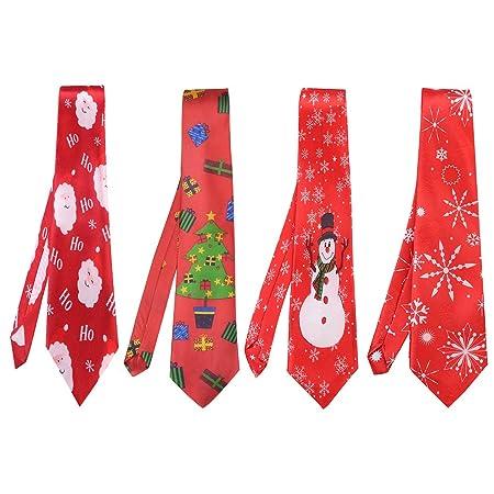 Bageek 4PCS Christmas Tie Creative Fashion Cartoon Print Holiday ...