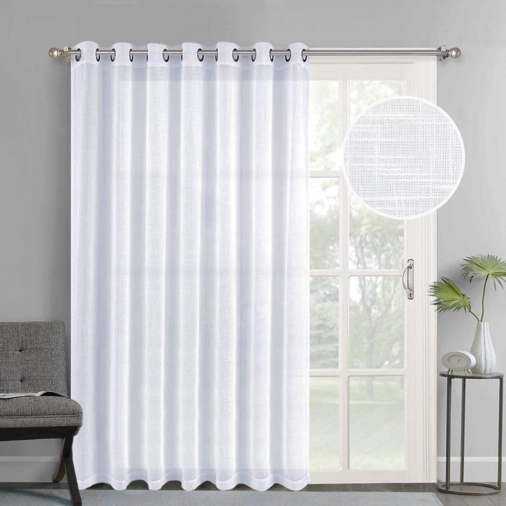 NICETOWN Linen-Like Patio Door Curtains - Extra Wide Grommet Top Semi Voile Drape Sheer Panels for Sliding Glass Door, White, W100 x L84, 1 Panel