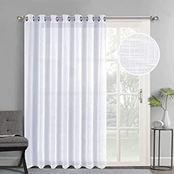 Amazoncom Nicetown Linen Like Patio Door Curtains Extra Wide