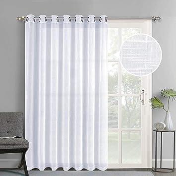Amazoncom Nicetown Linen Like Patio Door Curtains Extra Wide