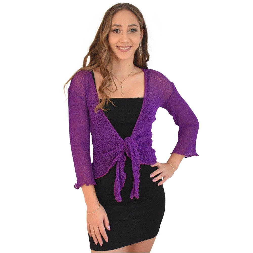 ISLAND STYLE CLOTHING Shrug Knit Sheer Cardigan Lightweight Cruise (Purple)