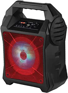 Fisher FBX262 Portable Wireless Speaker with Microphone Input, Bluetooth, AUX, USB, TF and Colorful Light Effects, Red