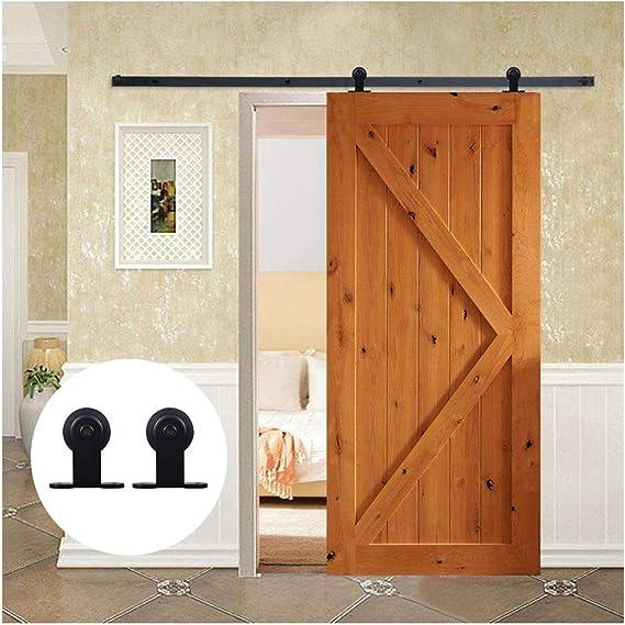 6.6FT/200 cm Herraje para Puerta Corredera Kit de Accesorios para Puertas Correderas,Negro T-Forma: Amazon.es: Bricolaje y herramientas