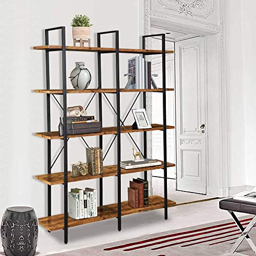 LENTIA 5 Shelf Double Wide Open Bookcase Furniture, Rustic Industrial Etagere Bookshelf, Vintage 5-Tier Large Book Shelves for Home Kitchen Organizer Double 5-Shelf