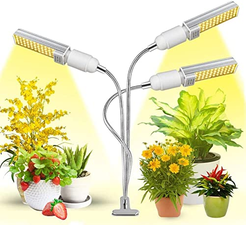 Aokrean Grow Lights for Indoor Plant, LED Plant Light Full Spectrum with Auto ON Off Timer, Plant Growing Lamps for Seedlings with 360 Gooseneck, 3 Switch Modes 10 Brightness Levels