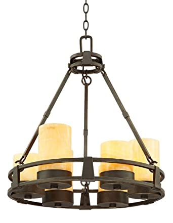 sunset onyx stone 6light faux candle chandelier