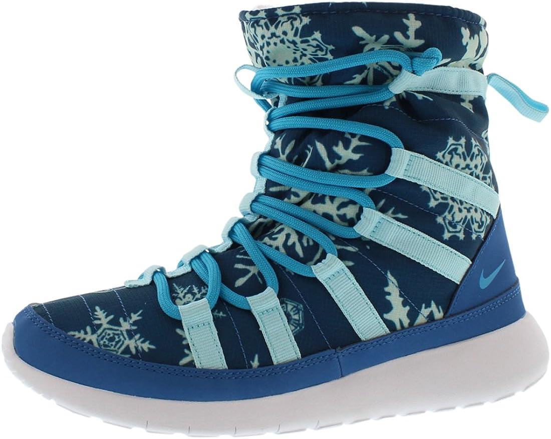 vânzare bună mai multe fotografii moda designerului Amazon.com | Nike Girl Roshe One Hi Print (GS) Blue Shearing Boots  (807744-400) | Boots