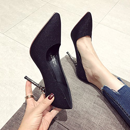 MDRW Silk All High 38 Fine A 10Cm Pointed Spring Leisure Shoes With Lady Match Heels Ladies' Shoes Elegant Ladies Black Work qYrOxY1Z