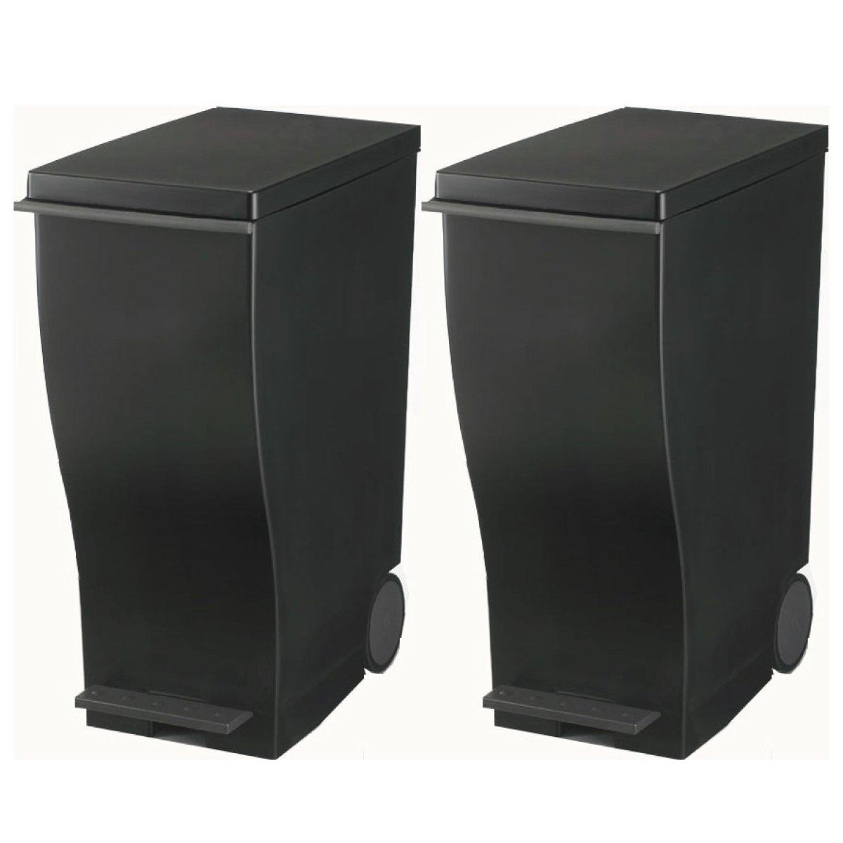 【日本製グッドデザイン賞受賞ダストボックス】 I'mD (アイムディ) Kcud スリムペダル 30 M 2個セット (ブラック×ブラック) B016W74B1S ブラック×ブラック ブラック×ブラック