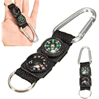 XIUFEN 3 in 1 Multifunction Camping Mini Carabiner with Keychain Compass Thermometer