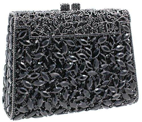 (Evening luxury crystal party clutch purse black rhinestone bling XL)