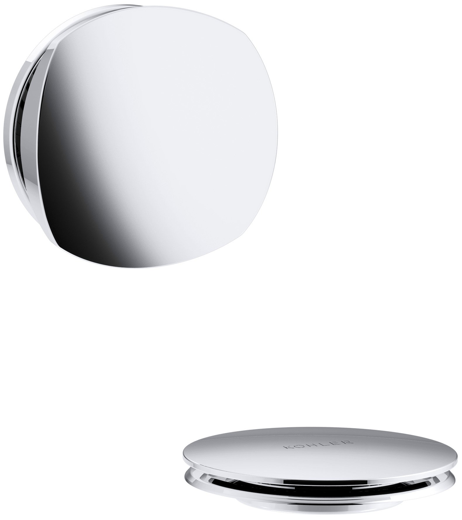 KOHLER K-T37391-CP PureFlo Cable Bath Drain Trim with Basic Rotary Turn Handle, Polished Chrome