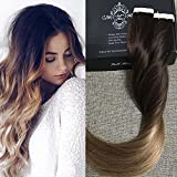 "Full Shine 22"" 20 Pcs 50 Gram #2 Dark Brown Fading to #6 Chestnut Brown to #18 Ash Blonde Ombre Hair Extensions Straight Tape on Hair Extensions Glue In Extensions"