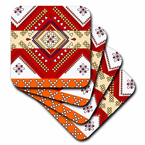 Red Tile Coaster - Janna Salak Designs Prints and Patterns - Aztec Andes Tribal Diamond Pattern Red and Orange - set of 8 Ceramic Tile Coasters (cst_165802_4)