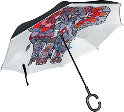 Double Layer Inverted Inverted Umbrella Is Light And Sturdy Sketch Style Chili Peppers Reverse Umbrella And Windproof Umbrella Edge Night Reflection