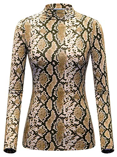 MSBASIC Long Sleeve Turtleneck Print Top Animal Shirts for Women XL