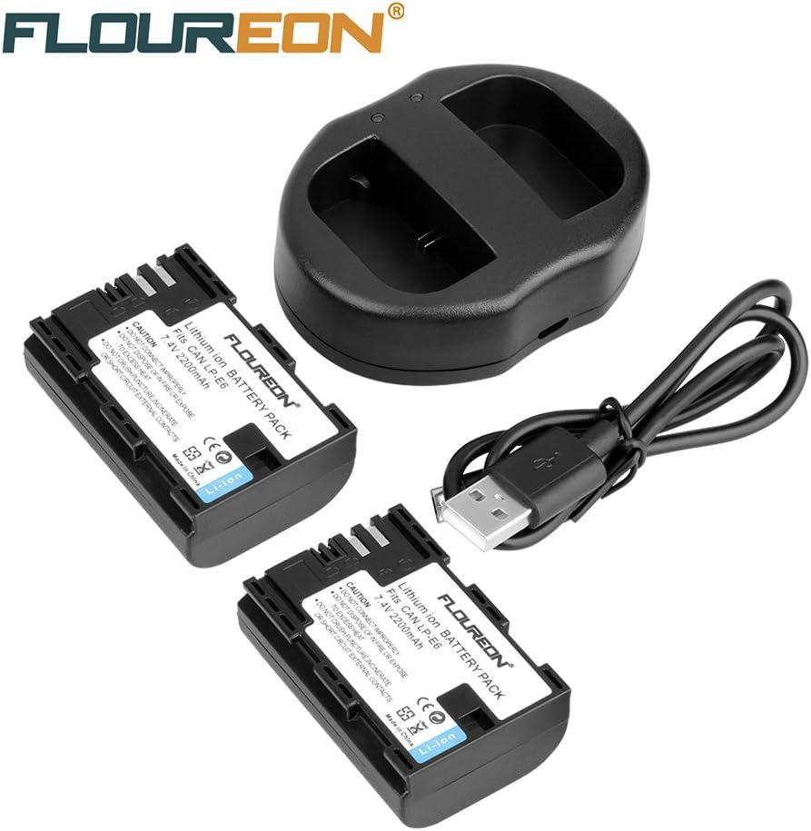 Floureon LP-E6 - 2x batería recargable Li-ion para Canon cámara (2200mAh, 7.4V, Negro) + Cargador de batería: Amazon.es: Electrónica