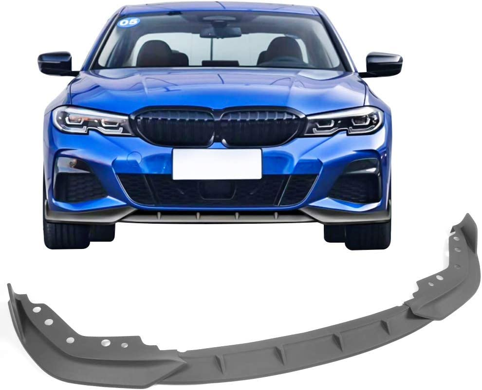 IKON MOTORSPORTS Front Bumper Lip Compatible With 2019-2020 BMW 3 Series G20 M Sport M340i ikon Style Glossy Black Chin Spoiler Air Dam Splitter