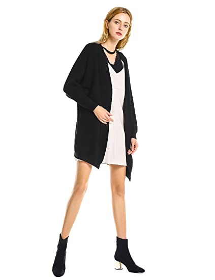 fc1074d9637 STYLE Women Cozy Batwing Sleeve Open Front Oversized Knit Cardigan Sweater  Coat with Pockets Black at Amazon Women s Clothing store