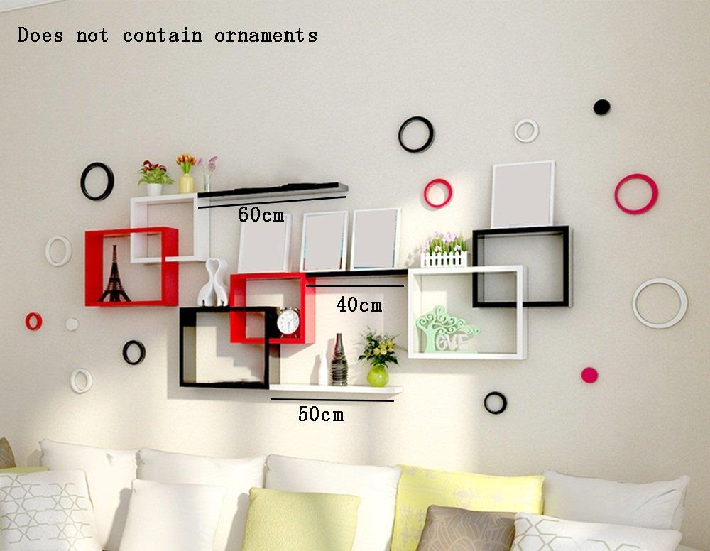 ALUP- ファッションウッドベースのパネルフローティングシェルフ/壁棚/プラントスタンド/本棚、ベッドルームリビングルームコリドール壁掛けバックドロップ装飾ラック壁フレーム B07BTFS3H8
