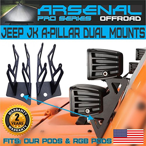(No.1 Arsenal Offroad Jeep JK A-Pillar Windshield Hinge Dual Mounting Brackets (2 pcs) for Mounting Auxiliary Off-Road LED, HID, or Halogen Fog and Work Lights to 2007-2017 Jeep Wrangler JK)