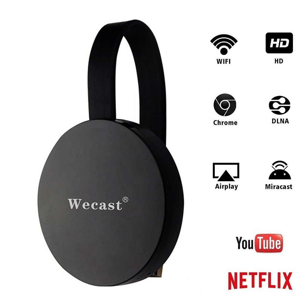 SmartSee Miracast Wireless Display Receiver 1080P HDMI WiFi Media Streamer Adapter Support Chromecast YouTube Netflix Hulu Plus Airplay DLNA TV Stick for Android/Mac/iOS/Windows