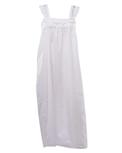 ba26971b00 Ladies Traditional Nightdress 100% Cotton Sleeveless Broderie Anglaise Trim  Nightie Small (Pink)