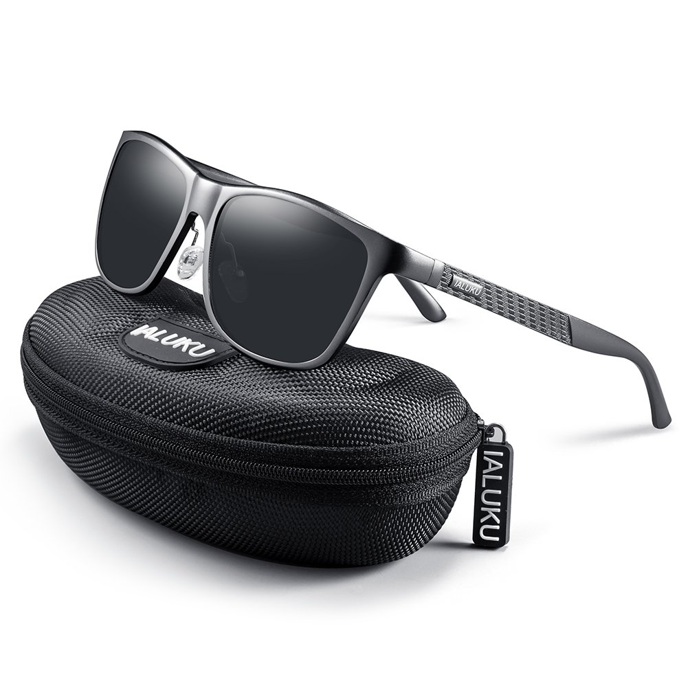 IALUKU Retro Driving Wayfarer Polarized Sunglasses for Men Metal Frame UV Protection (Gun&Black, 61)