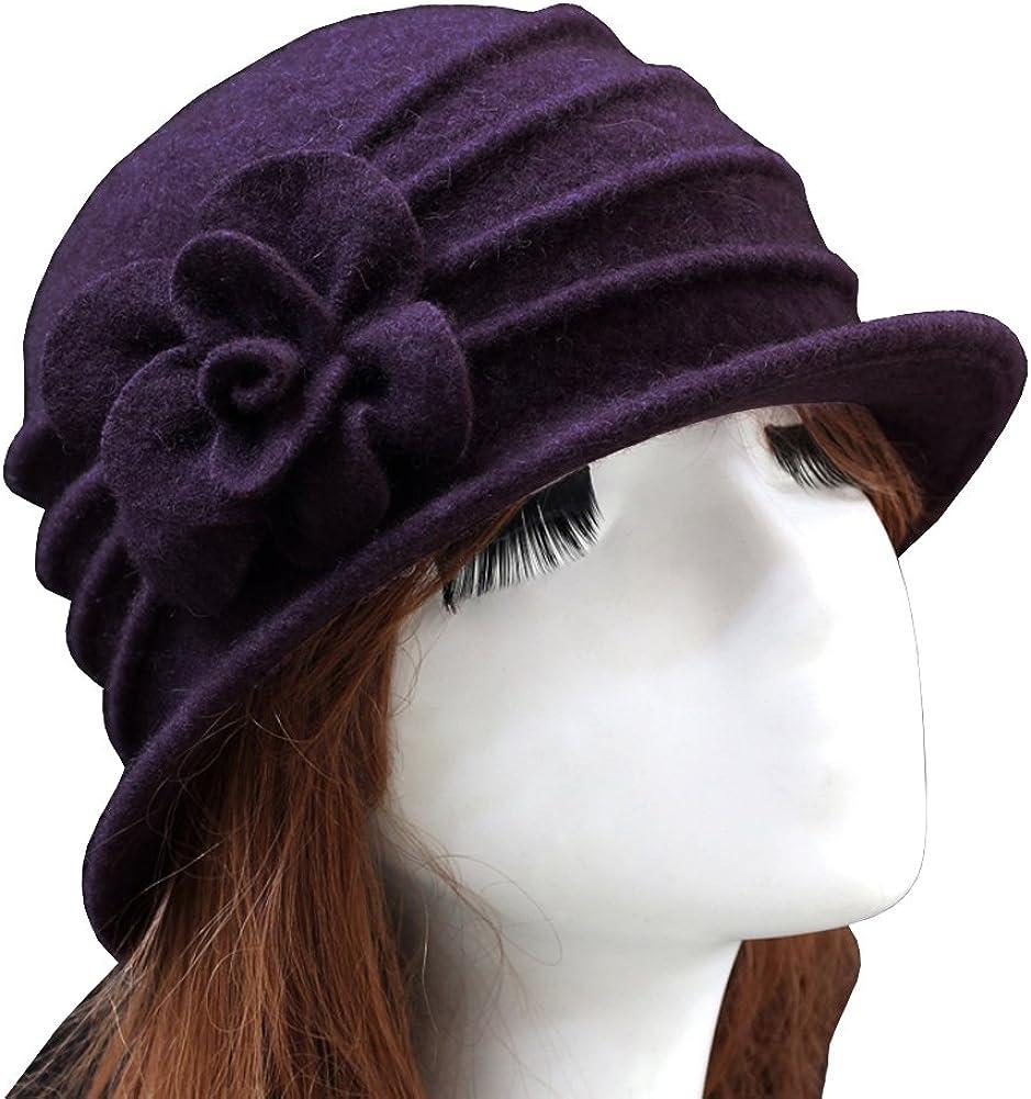 Urban GoCo Womens Floral Trimmed Wool Blend Cloche Winter Hat