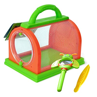 everd1487HH Kids Insect Bug Cage with Tweezers Magnifier Backyard Exploration Critter Toy,Perfect Christmas Toys for Child Gift- Orange Blue Random Color: Home & Kitchen