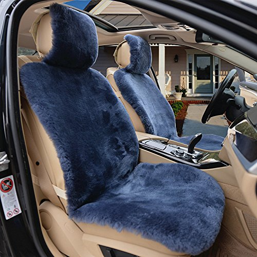 IMQOQ A Pair Genuine Sheepskin Short Wool Car 2 Front Seat Covers Set Winter Warm Universal Blue Grey