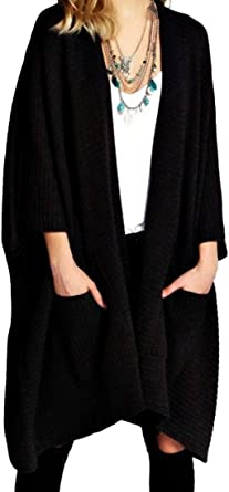 NEW WOMENS OPEN FRONT LADIES LONG  WATERFALL 3//4 SLEEVES CARDIGAN ONE SIZE 8-18