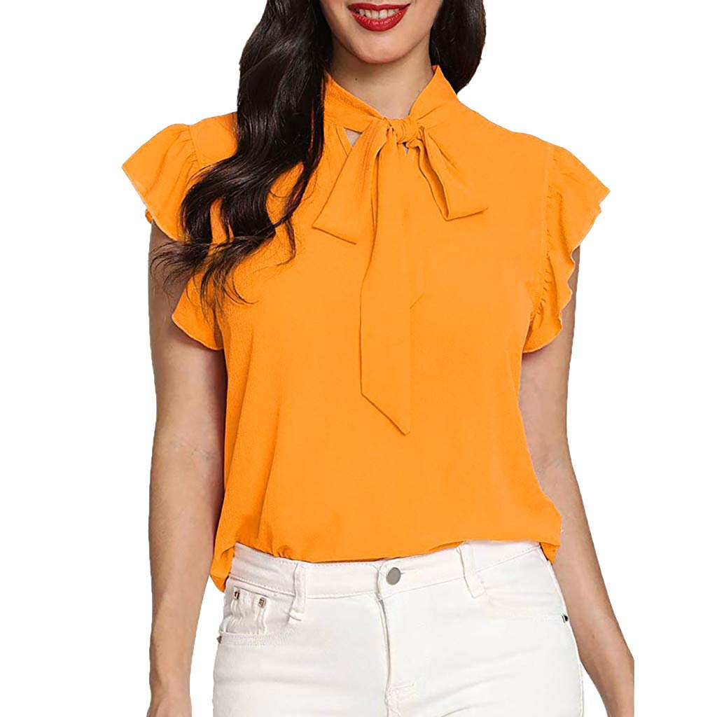 Short Sleeve Tee Blouse for Women,Amiley Womens Casual Cap Sleeve Bow Tie T-Shirts Ladies Office Solid Chiffon Blouse Tops (X-Large, Yellow)
