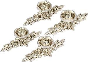 Joyindecor Euro Rose Cabinet Knobs with Backplates, Vintage Kitchen Zinc Alloy Flower Drawer Pull Handles for Dresser Vanity Nightstand Cupboard Wardrobe, 4 Pack (Antique Silver)