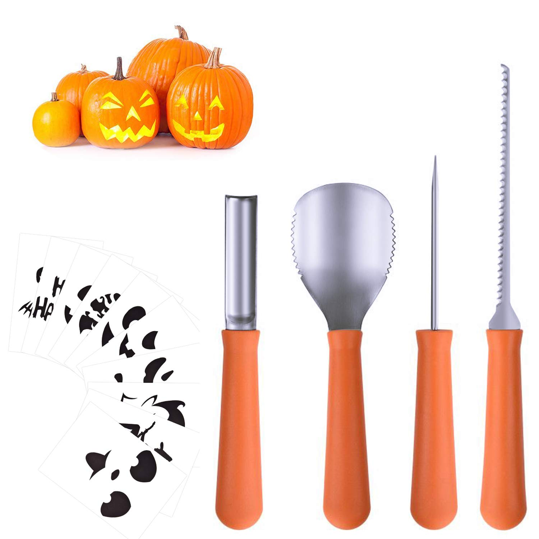 Halloween Pumpkin Carving Tools[Set of 4], LKDEPO Premium Stainless Steel Pumpkin Carving Set[10 Different Pumpkin Carving Pattern Templates]