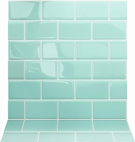 Amazon Com Apsoonsell 3d Peel And Stick Green Wallpaper Self Adhesive Subway Tile Contact Paper For Living Room Bathroom 12 X 12 Inches Pack Of 2 Home Kitchen